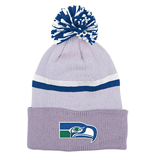 Seattle-Seahawks-Mitchell-Ness-NFL-Slate-Cuffed-Knit-Hat-w-Pom