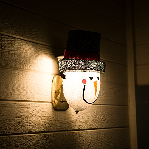 Snowman Porch Light Cover - Light up Your Night with a Glowing Welcome From This Frosty Fellow - Install Is Quick and Easy - Traditional Holiday Snowman Face - Cord Hides Behind Your Outdoor Porch Light - Made of Acrylic