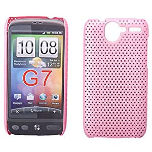 Plastic Grid Hard Case for HTC Desire G7 Pink