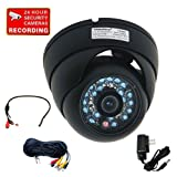 51Ctlh%2BIK L. SL160 VideoSecu Day Night Vision IR Dome Security Camera Vandal Proof 1/3 CCD 420TV Line 24 Infrared LEDs for CCTV DVR Home Surveillance System with Power Supply, Mini Audio Microphone, Extension Audio Video Power Cable CFF