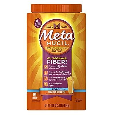 Metamucil Psyllium Fiber Supplement by Meta Orange Smooth Sugar Free Powder 180 doses
