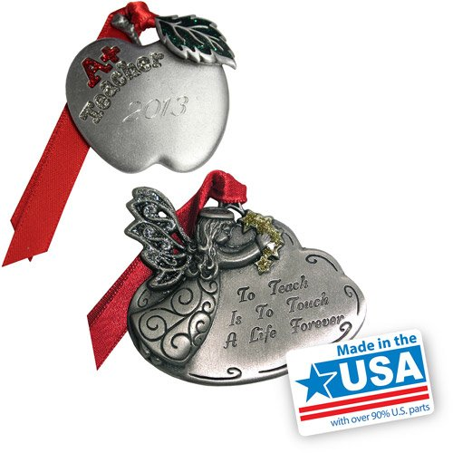 Gloria Duchin Teacher's Christmas Ornament 2-Piece Zinc & pewter construction