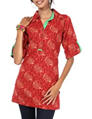 Rajrang Cotton Red Screen Printed Tunic Top