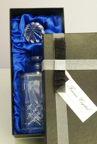 Buckingham Crystal Square Whisky Decanter, Satin Presentation Gift Box