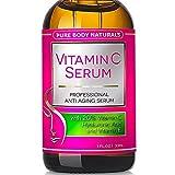 BEST ORGANIC Vitamin C Serum Professional Topical Facial Skin Care Helps Repair Sun Damage Fade Age Spots Dark Circles L ascorbic Acid Wrinkles & Fine Lines - 1 oz.