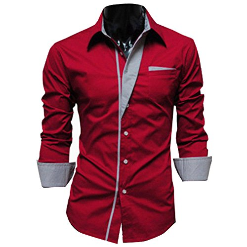 Thinkbest - Plus Size Button Down Camicia A Maniche Lunghe Business camicie Red XXX-Large