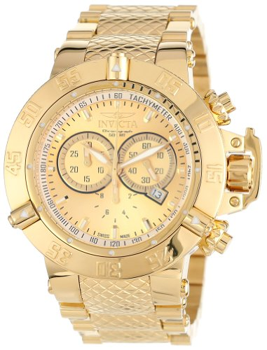 Invicta Men's 14500 Subaqua Noma III Chronograph Gold Dial 18k Gold Ion-Plated Stainless Steel Watch
