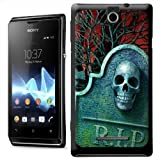 Skull on Headstone in Cemetery on Blood Red Evening Night Hard Case Clip On Back Cover For Sony Xperia E