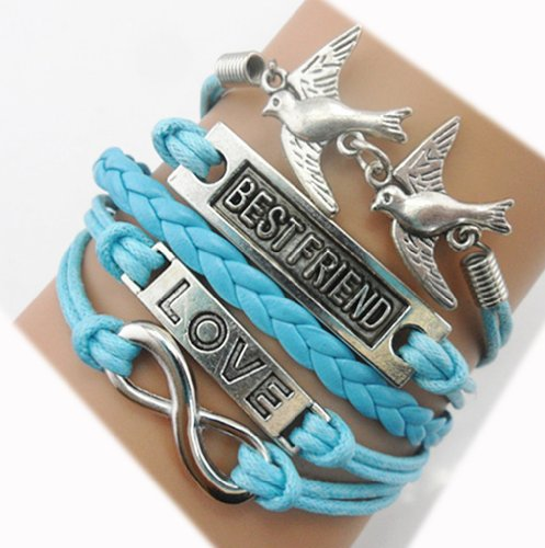 Handmade Best Friend Love Birds Charm For Friendship Gift - Fashion Personalized Leather Bracelet - Blue