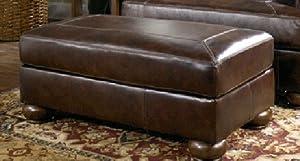 Axiom brown leather ottoman