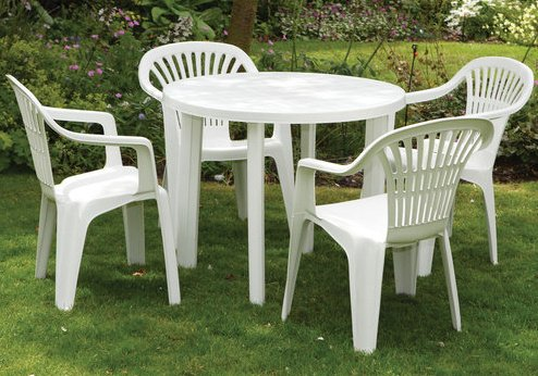 *SALE* SUPERIOR PLASTIC 5 PIECE GARDEN DINING SET - 4 CHAIRS 1 TABLE! - INDOOR OUTDOOR PATIO