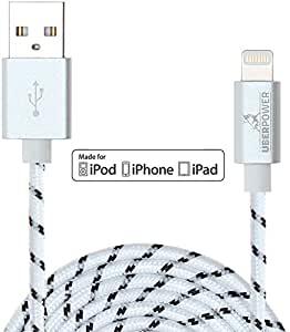 UberPower by NRGized Lightning to USB Cable [Apple MFi Certified] 3ft / 0.9m with Metal Connector Head and Braided Cable for iPhone 6 6Plus 5s 5c 5, iPad Air, Air mini, iPad, and iPod (White/Black)