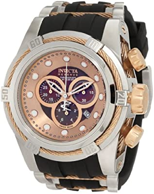 Invicta Men's 0829 Bolt Reserve Chronograph Black Mother-Of-Pearl Dial Black Polyurethane Watch