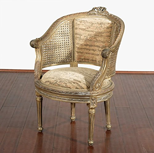 vintage-french-style-upholstered-occasional-rattan-arm-chair