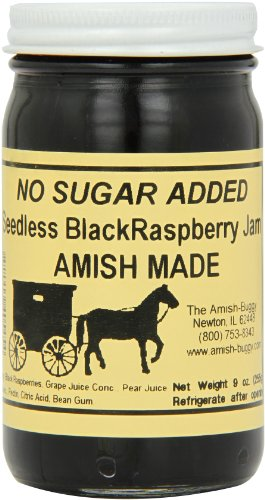 Amish Buggy No Sugar Added Jam, Black Raspberry, 9 Ounce (Pack of 12)