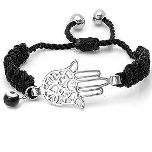 Adjustable Stainless Steel & black Cord Hamsa Bracelet with Evil Eye Charm