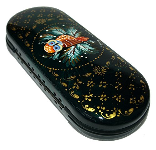 Hand Painted Eyeglass Case - Each item Unique - Traditional Folk Style Painting - Hard Holder for both Eyeglasses and Sunglasses - The Fedoskino style (Salt Life Camo Visor compare prices)