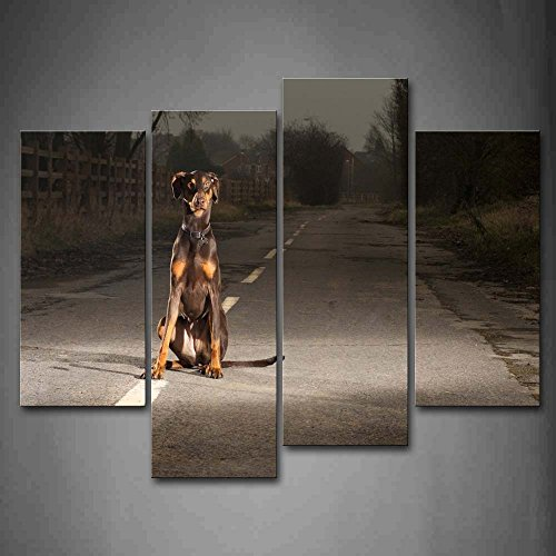 Dog Sit On Road Wall Art Painting The Picture Print On Canvas Animal Pictures For Home Decor Decoration Gift