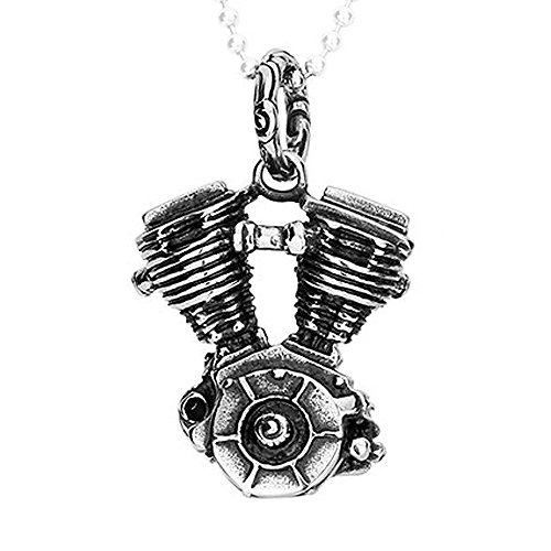 Felix Perry Jewelry Silver Stainless Steel Necklace Motorcycle Engine Mens Pendant 18-26 Inches Chain (20 Inches, stainless-steel)