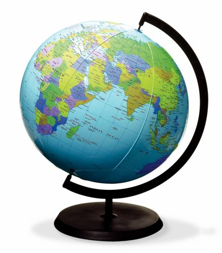 ETA hand2mind, Inflatable World Globe with A Stand, (25109)