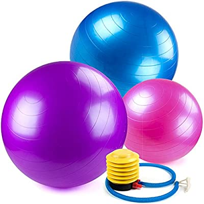 Crown Sporting Goods Yoga Ball and Core Stability Balance Trainer with Foot Pump