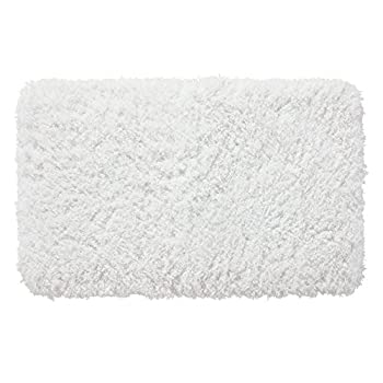 "Genteele Memory Foam Bath Mat Shaggy Bathroom Mat, Non-Slip, Water Absorbent, Super Plush, Washable Bathroom Rug, 21"" X 34"", White"