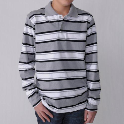 Boston Traveler Boys Long-sleeve Stripe Polo Shirt