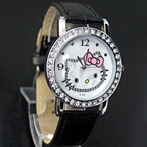 Hello Kitty Crystal and Mother of Pearl Background Black Band Watch + Hello Kitty Pouch & Extra Battery - Brand New