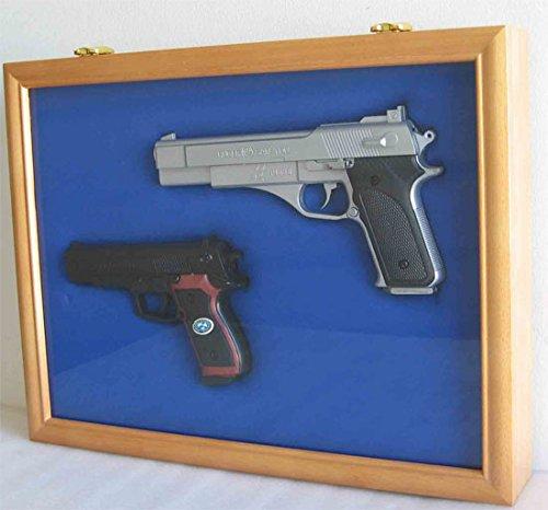 Pistol Airsoft Gun / Handgun display case shadow box, Lockable glass door-OAK (Hand Gun Display Case compare prices)