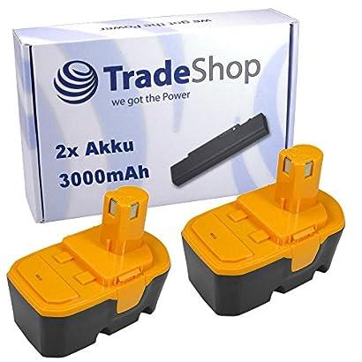 2x AKKU 18V 3000mAh Ni-MH für Ryobi LDD1801PB LDD1802PB P200 P202 P204 P210