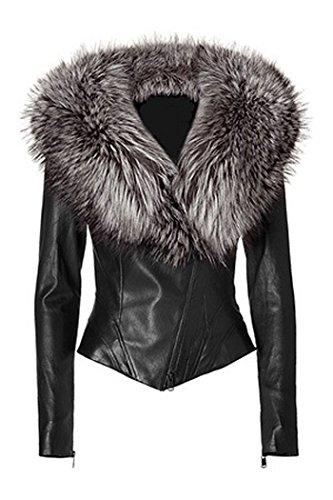 Ventaja Leather Jacket with Silver Fox Fur