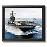 USS John C Stennis Aircraft Carrier Naval Ship Military Wall Picture Black Framed Art Print