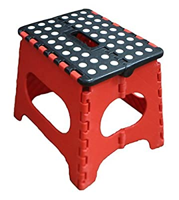Jeronic 11 Inches Super Strong Folding Step Stool for Adults and Kids, Red Kitchen Stepping Stools, Garden Step Stool, holds up to 300 LBS
