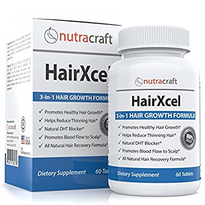 #1 Hair Loss Supplement and DHT Blocker - Natural 3-in-1 Vitamin and Herbal Remedy for Hair Recovery and Regrowth in Men and Women with Biotin for Hair Growth, DHT Blocking Herbs to Stop Thinning Hair Plus Vitamins and Ginkgo Biloba - 60 Capsules