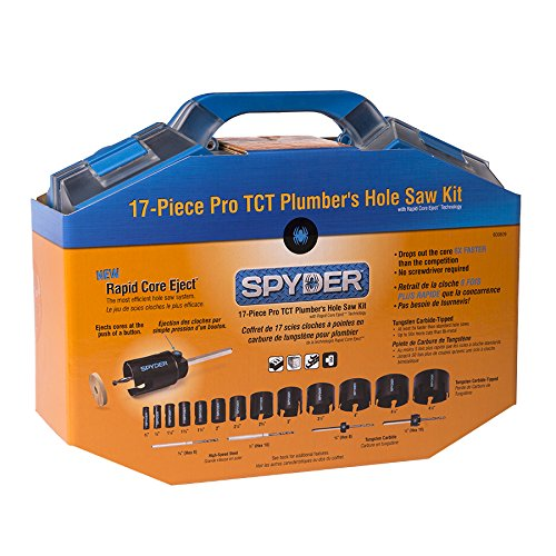 Spyder 600809 Tungsten Carbide Tipped Rapid Core Eject Plumbers Hole Saw Kit, 17-Piece