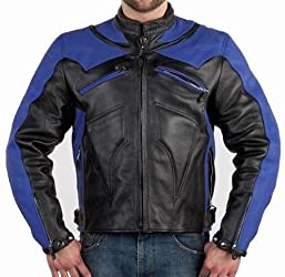 Black & Blue Vented Leather Motorcycle Racing Jackets with Armor, Mens Armored Leather Racer Jacket with zippered air Vents and Removable Lining, Available in all Sizes, Size : Small, SM, 34