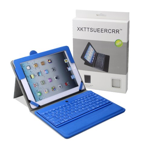 Newest Version! Xkttsueercrr(Tm) Premium New Abs Plastic Keys Wireless Bluetooth Keyboard Folio Case Cover With Magnetic Smart Stand For Ipad 2 New Apple Ipad 3 3Rd Gen. Ipad 4 Gen. (Blue)