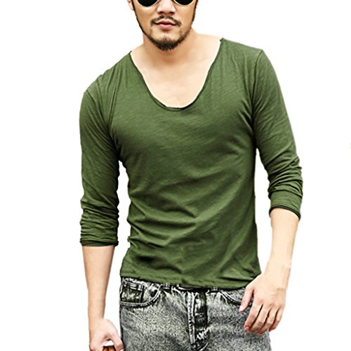 Zbrandy Men'S Fitted Tops Deep V Neck Neck Long Sleeve T Shirts With Cut Off Border Colour Navy Green Size S