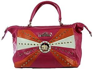Betty Boop Stud & Rhinestone Doctor Style Patchwork Handbag (Fuschia)