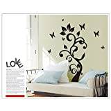 Oren Empower Black Butterfly Fly Around Tree Large Wall Sticker For Home Decoration