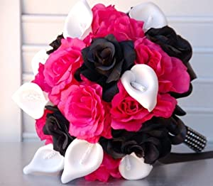 Black and Hot Pink Rose and White Calla Lily Bridal Wedding Bouquet