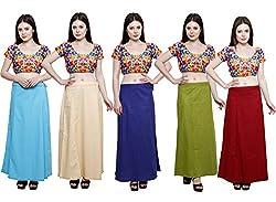 Pistaa combo of Women's Pure Cotton Light Rama, Light Beige, Purple, Mehendi Green and Deep Maroon Color Best High Quality Inskirt Saree petticoats