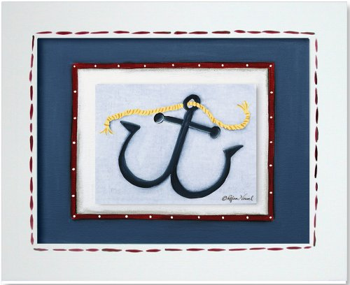 "Doodlefish Framed 17.5""x14.5"" Wall Art, Anchor"