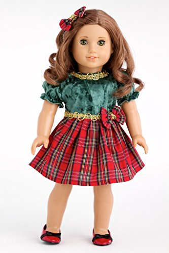 Christmas Green and Red Party Dress with Red Shoes