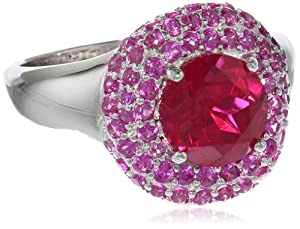 Sterling Silver Created Red Ruby and Pink Sapphire Swirl Ring, Size 7