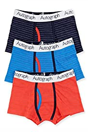 3 Pack Autograph Cotton Rich Piqué Striped Trunks