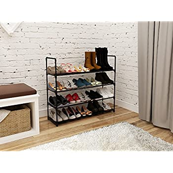 "Home-Like 4 Tier Shoe Rack Stackable Shoe Shelf Shoe Storage Organiser Customized and DIY Metal Storage Rack for 20 Pairs of Shoes ,35.6""W x 12"" D x 33.2""H (Black)"