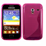 S-Line Gel Skin Cover Case For Samsung Galaxy Ace Plus S7500 / Hot Pink