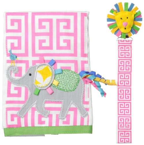 Mud Pie Unisex-Baby Newborn Elephant Burp And Pacy Clip Set, Multi, One Size