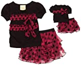 Dollie & Me Girls 2-6x Sweet Heart Rose Skirt Set
